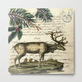 western country primitive christmas mountain animal wildlife winter pine tree elk Metal Print