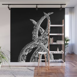 Woodcut Style Cthulhu Octopus Tentacles on Black Background Wall Mural
