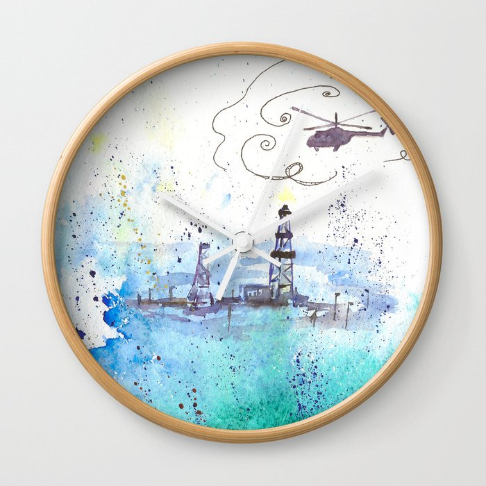 Oil drilling Wall Clock
