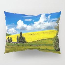 Yellow blossoming rapeseed hillside and farm idyllic landscape photograph Pillow Sham