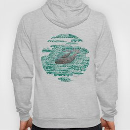 Mama + Baby Gray Whale in Ocean Clouds Hoody