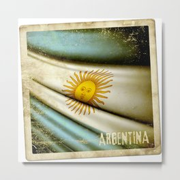 Grunge sticker of Argentina flag Metal Print