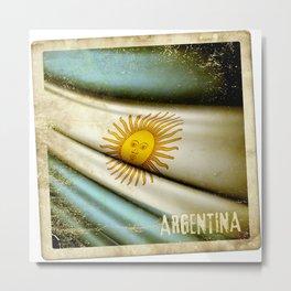 Grunge sticker of Argentina flag Metal Print
