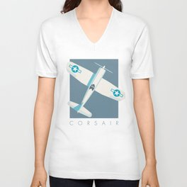 F4U Corsair Fighter Aircraft - Slate Unisex V-Neck