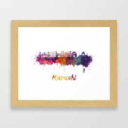 Karachi skyline in watercolor Framed Art Print