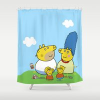simpson Shower Curtains featuring The Peppa Simpson Family by Carlos Paboudjian