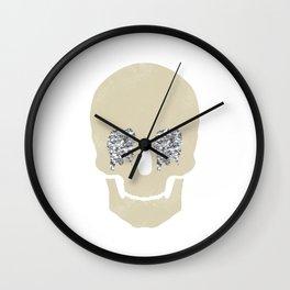 silver glitter skull Wall Clock
