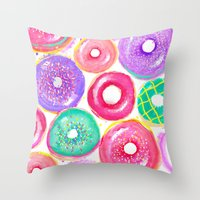 donuts Throw Pillows featuring Donuts by Sara Berrenson