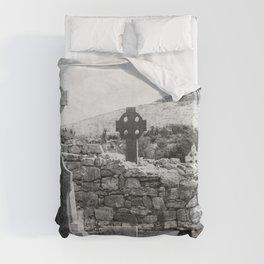 Halloween Graveyard | Horror | Black and White Cemetery | Gothic Graves | Duvet Cover