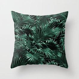 Tropical Palm Leaf Jungle Night #1 #tropical #decor #art #society6 Throw Pillow