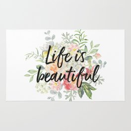 Romantic bouquet Life is beautiful Rug
