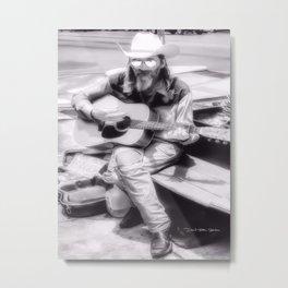 Guitar Man - Black and White Metal Print