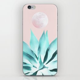 Stellar Agave and Full Moon - pastel aqua and pink iPhone Skin