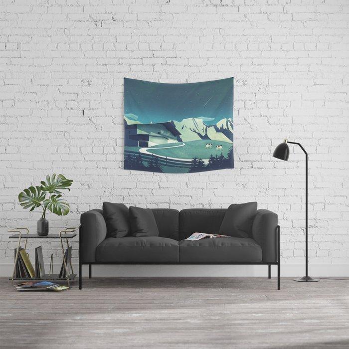 Alpine Hut Wall Tapestry