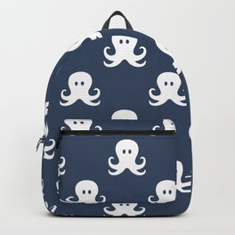 white octopus with blue background repeat pattern Backpack