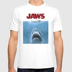 Jaws MEDIUM White Mens Fitted Tee
