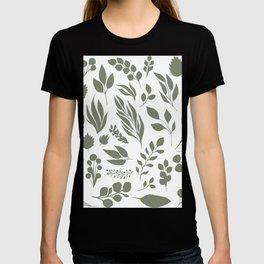 Elegant floral pattern, light green leaf inked silhouettes set, vector isolated illustration T-shirt