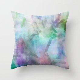 splash painting texture abstract background in purple pink green Throw Pillow