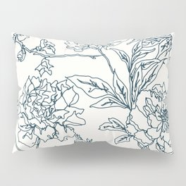 Navy and Cream Vintage Chinoiserie Botanical Floral Toile Wallpaper Pattern Pillow Sham