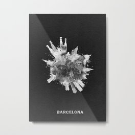 Barcelona, Spain Black and White Skyround / Skyline Watercolor Painting (Inverted Version) Metal Print