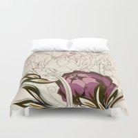 peach Duvet Covers featuring Peach and purple  artichoke by /CAM