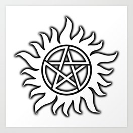 Anti Possession Sigil Black Glow Transp Art Print