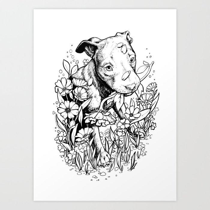 Color Me Canine Pitbull Art Print