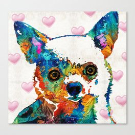 Colorful Chihuahua Art by Sharon Cummings Canvas Print
