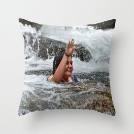 Gaby in the powerful Mameyes river - El Yunque rainforest PR Throw Pillow