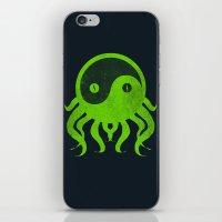cthulu iPhone & iPod Skins featuring yin yang cthulu by frederic levy-hadida