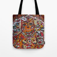 russian Tote Bags featuring Russian cat  by oxana zaika