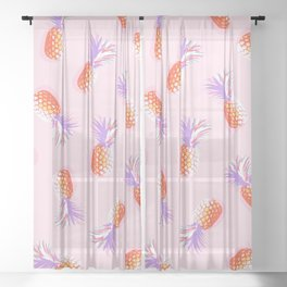 Tropical Pineapple Party Pattern - Coral and lavender on Pink Sheer Curtain