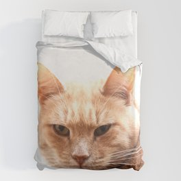 Red cat watching Duvet Cover