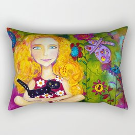 Cats In The Meadow Rectangular Pillow