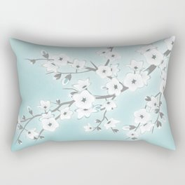 Cherry Blossoms Mint White Rectangular Pillow