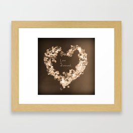Love is all around  , retro chocolate edition Framed Art Print