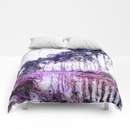 Monet Poplars on the Banks of the River Epte Magenta Violet Comforters