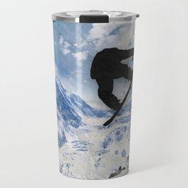 Snowboarder In Flight Travel Mug