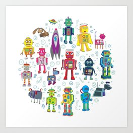 Robots in Space Art Print