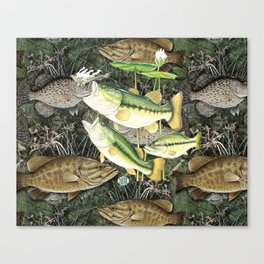 Live for the Catch- Bass Camo Canvas Print