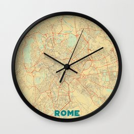 Rome Map Retro Wall Clock