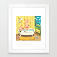 Piggy Bubble Bath Framed Art Print