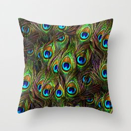 Peacock Feathers Invasion - Wave Throw Pillow