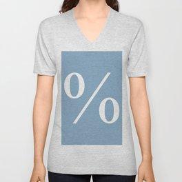 percent sign on placid blue color background Unisex V-Neck