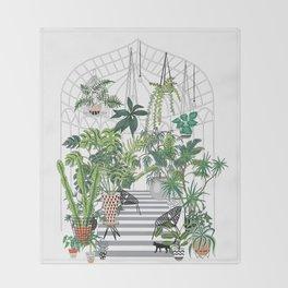 greenhouse illustration Throw Blanket