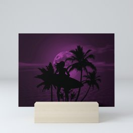 Purple Dusk with Surfergirl in Black Silhouette with Shortboard Mini Art Print