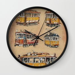 Old vintage yelow trams -nostagic pubic transport Wall Clock