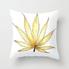 Golden Cannabis Throw Pillow