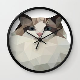 A petite cat with cute and bright colors Wall Clock