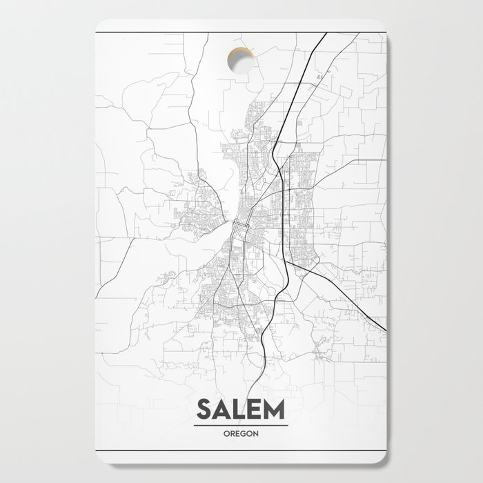 Minimal City Maps - Map Of Salem, Oregon, United States Cutting Board by  valsymot